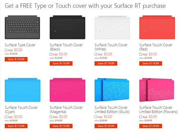 Screenshot of Microsoft's online store showing free covers for Surface RT