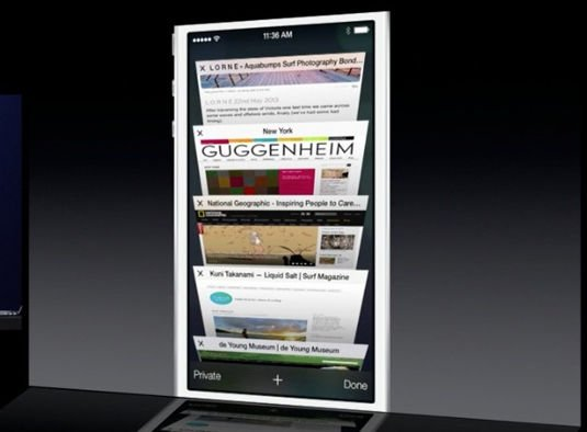 The new Tabs feature in Safari for iOS 7