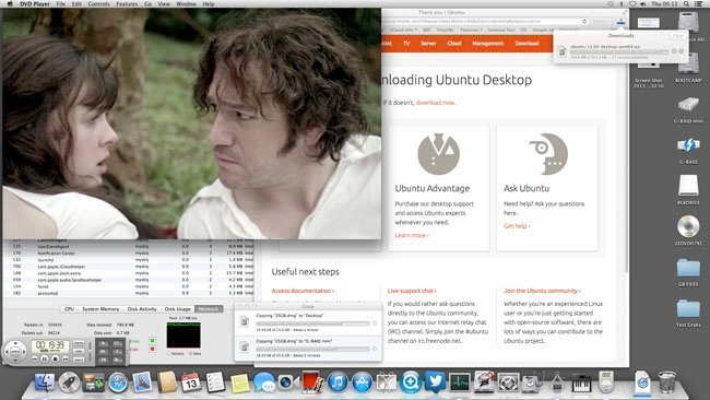 Simultaneous 2 x 25GB transfers from Thunderbolt G-RAID to FireWire 800 G-RAID and Mac HDD; DVD playback and Ubuntu ISO download using Belkin Express Dock