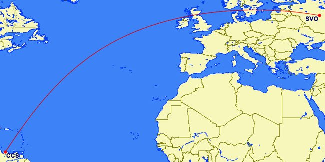 Moscow (SVO) to Caracas (CCS) possible direct flight path