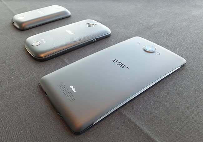 Acer Liquid Z2, E1 and S1 Android smartphones back