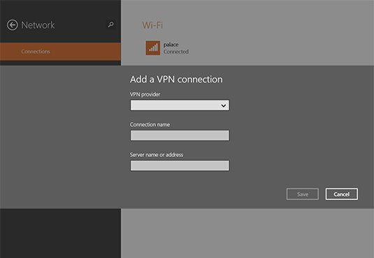 Screenshot of Windows 8.1's fresh VPN management panel