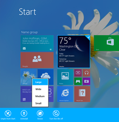 Windows 8.1 tile resizing