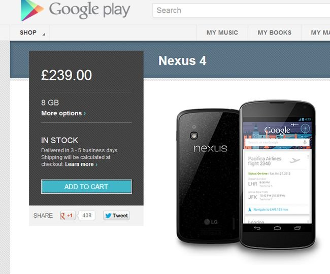 Nexus 4 in stock