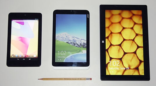 Tablet size comparison: Asus Nexus 7, Acer Iconia W3, Microsoft Surface Pro
