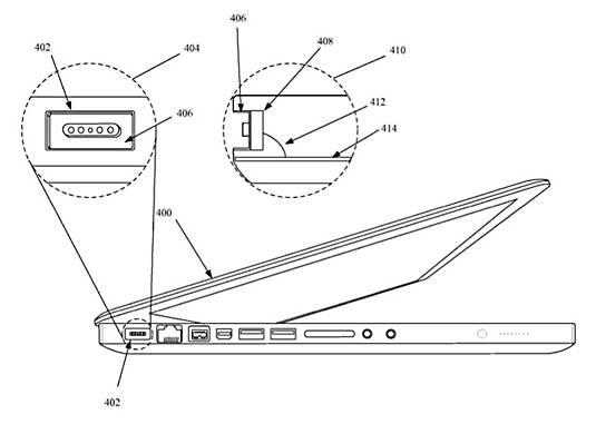 Image from Apple's 'Unibody Magnet' patent, showing improvements to the MagSafe port in a MacBook