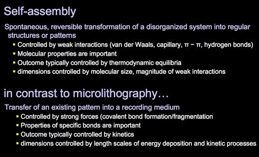 Differences between directed self-assembly and microlithography