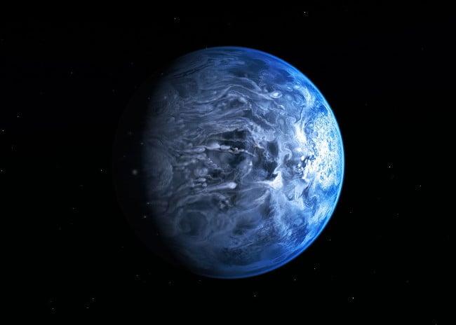 Artist's impression of deep blue planet HD 189733b