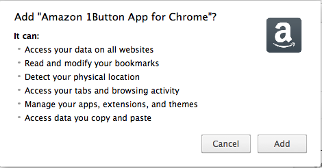 Amazon Chrome 1Button Permission Screenshot