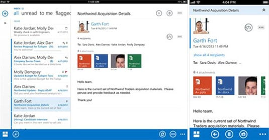 Screenshot of Outlook Web App for iOS