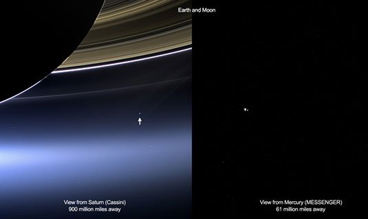 Shots of Earth and the Moon taken from Cassini and MESSENGER