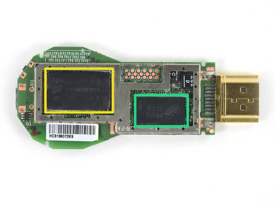 Google Chromecast logic board: NAND flash memory and SDRAM