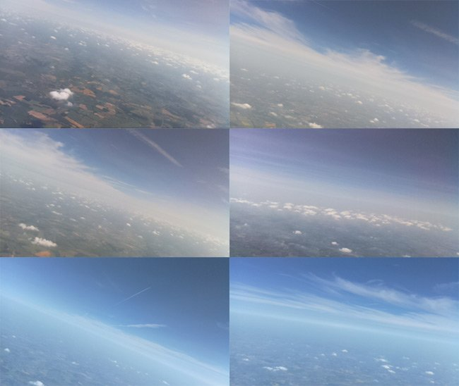 Montage of flight images from the