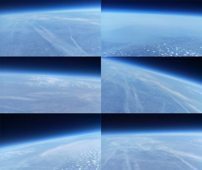 Montage of images from the Picam at around 100,000ft