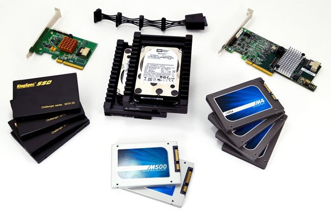 RAID test components - HDDs, SSDs and cards