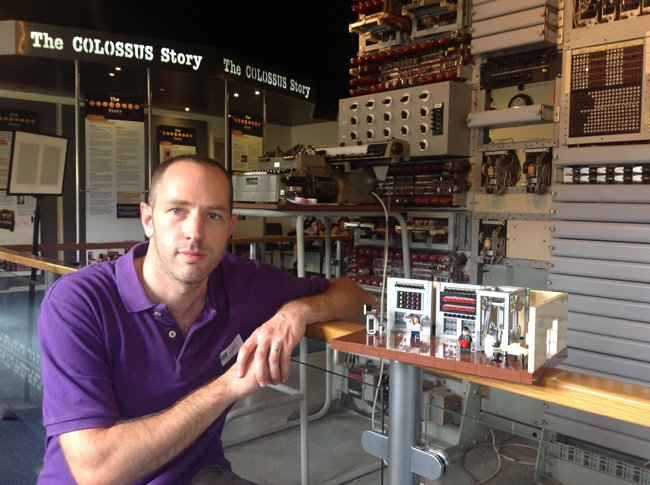 James Pegrum and his Lego Colossus at the National Museum of Computing