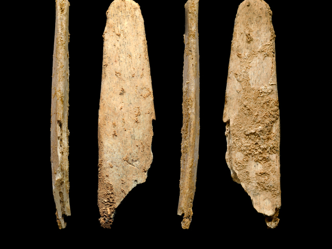 Four views of the most complete lissoir found during excavations at the Neandertal site of Abri Peyrony