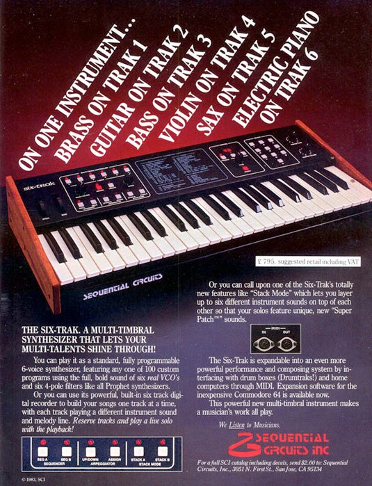 Sequential Circuits Six Trak sequencing synthesiser