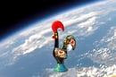 The flying rooster seen in the stratosphere