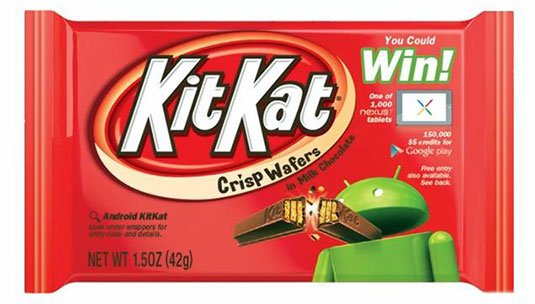 Photo of a US KitKat wrapper advertising an Android contest giveaway