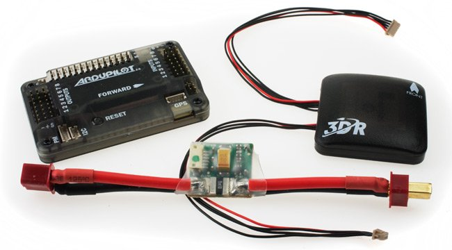 The Ardupilot Mega 2.6, with GPS unit and power supply