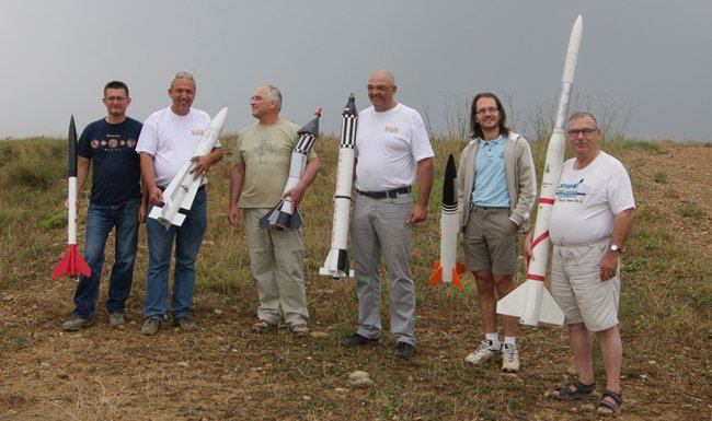 The French rocket contingency pose for a group shot