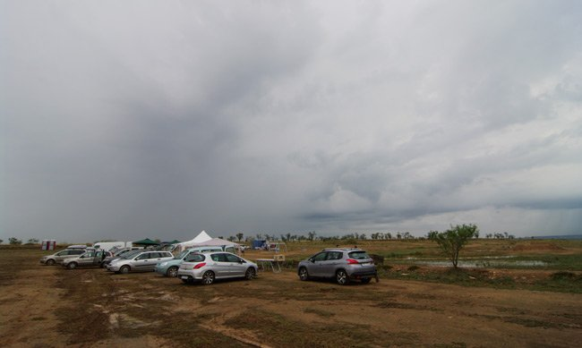 The threatening skies above the launch site