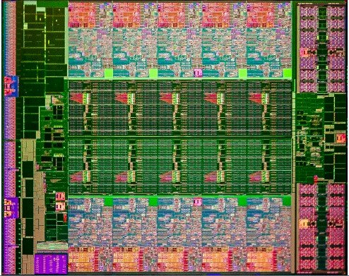 Die shot of the ten-core Ivy Bridge-EP processor
