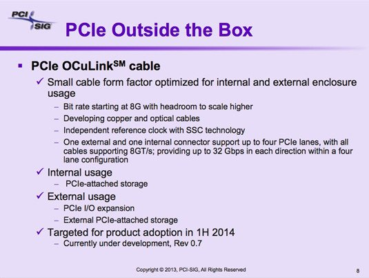 PCI-SIG OCuLink external PCIe cabling description