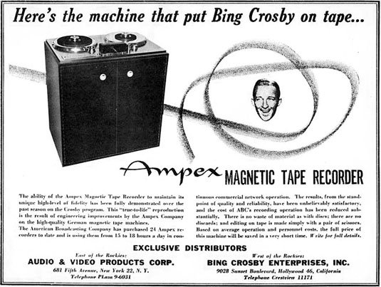 Bing Crosby Ampex tape recorder advertisement