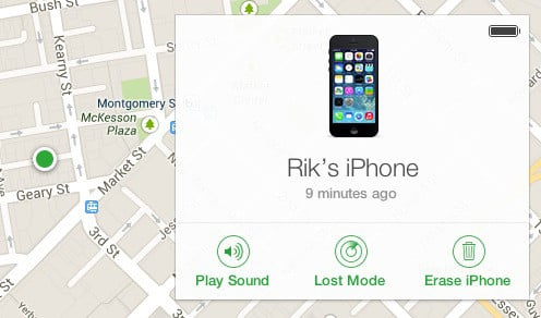 Screenshot of iCloud 'Find My iPhone' map showing location of Rik's iPhone