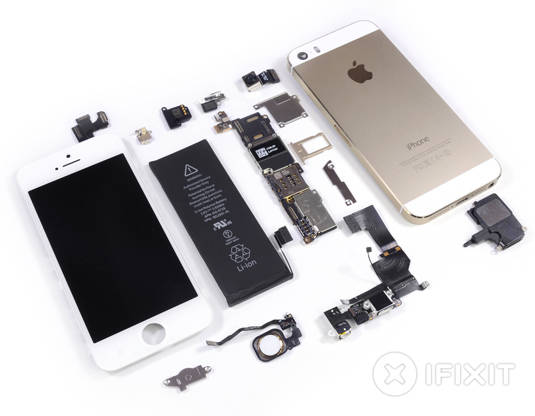 Apple iPhone 5s: fully disassembled