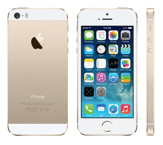 Apple iPhone 5s: back, front, and side views