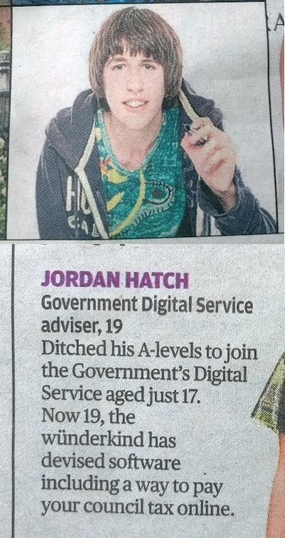 A vox pop entry for Jordan Hatch, a UK government digital service adviser, from the London Evening Standard
