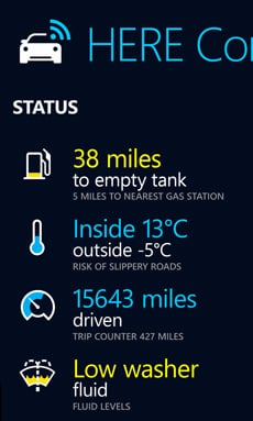 Screenshot of HERE driving companion showing statistics about the vehicle and its journey