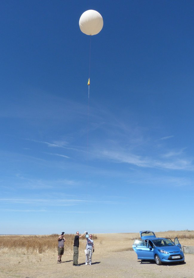 The balloon in the air immediately before launch