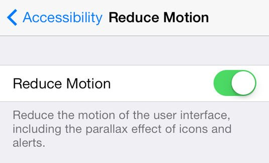 Reduce Motion toggle in iOS 7's Accessibility settings