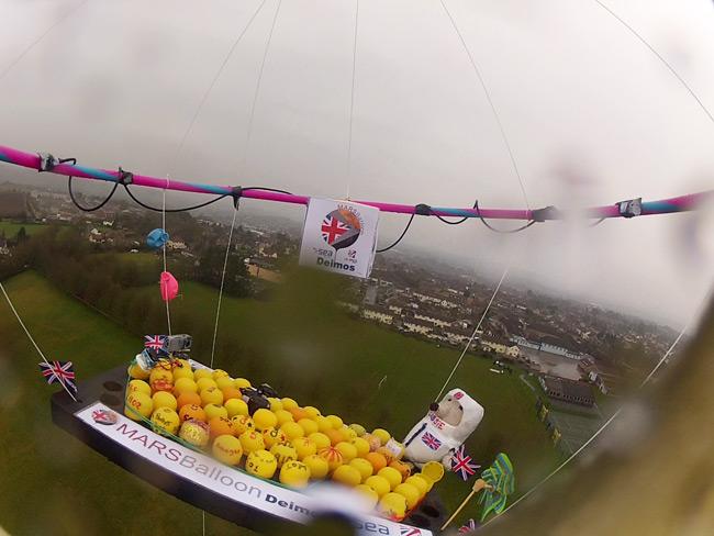 Still from Cassie onboard camera showing launch in heavy rain