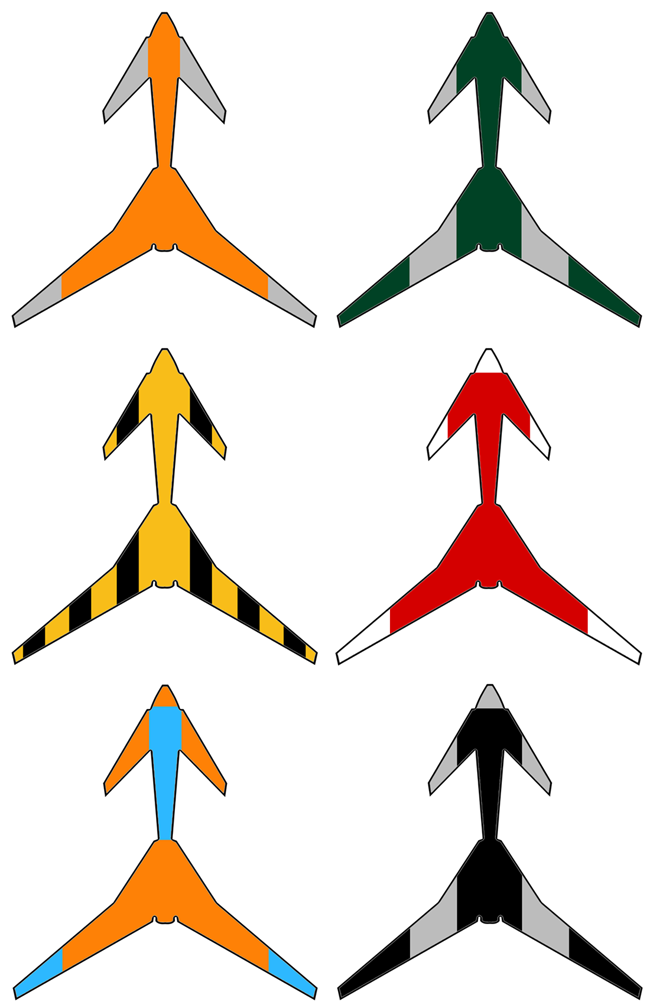 Six suggested colour schemes for the Vulture 2