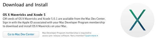 Screen shot from Apple's Developer website announcing that the Golden Master of OS X 10.9, aka Mavericks, is now available