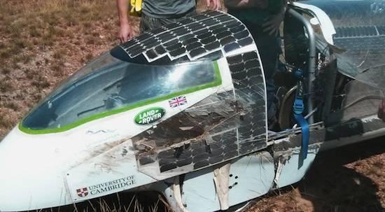 Cambridge University Eco Racing's 'Resolution' solar car after a nasty crash