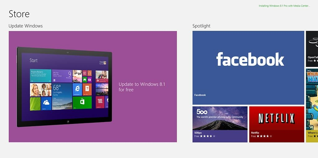 Getting a Windows 8.1 Update from a Windows Store
