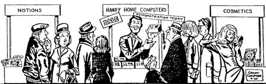 Cartoon of man selling 'Handy Home Computers' from Gordon Moore's seminal 1965 paper in Electronics Magazine