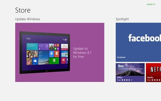 Windows 8.1 update in store screen