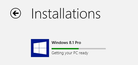 Windows 8.1 update in progress