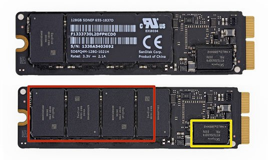 Apple's new, custom PCIe-based SSDs, as found in the latest MacBook ...