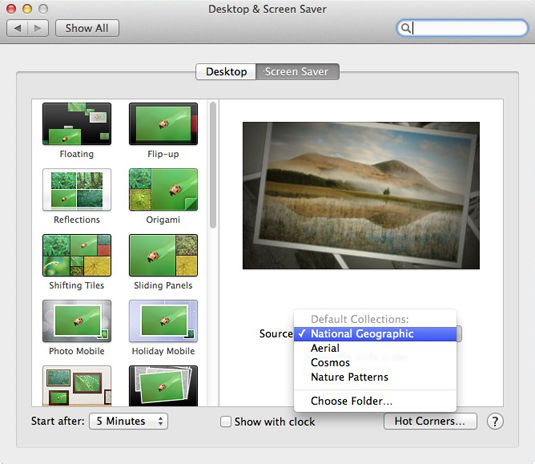 OS X Mavericks Screen Saver preferences pane