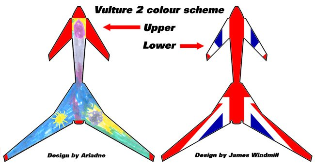 The proposed upper and lower schemes for our Vulture 2 paintjob