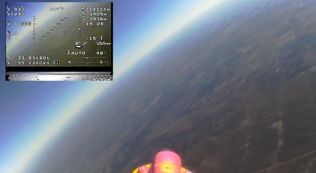 A still from the onboard camera during the flight of NTNS 4