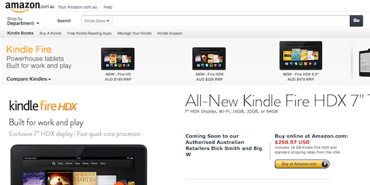 Kindle Fire Prices - Australia